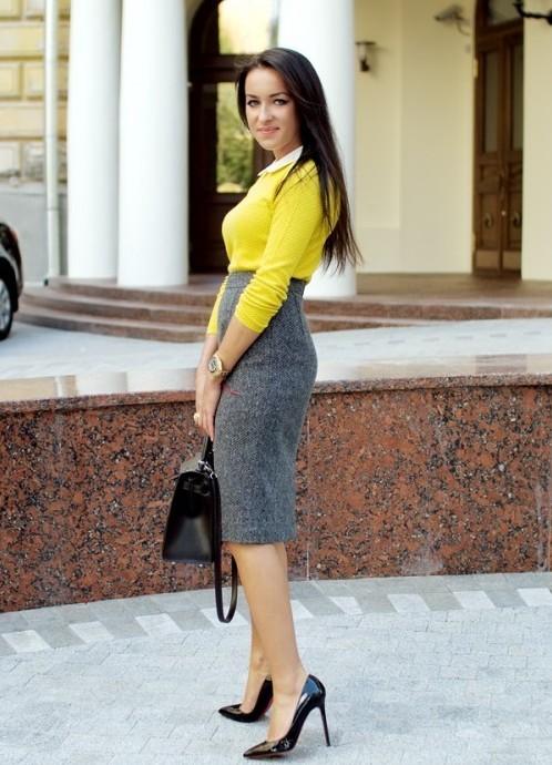 Серая юбка мода