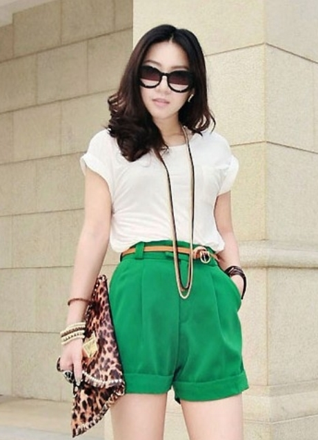 Зеленые шорты с чем носить женские