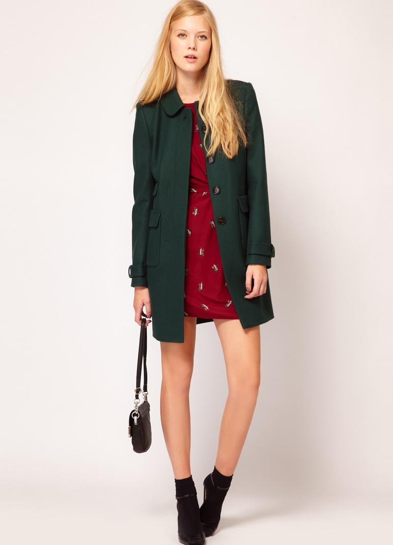 С чем носить зеленое пальто 4