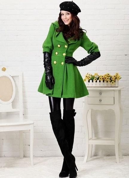 С чем носить зеленое пальто 8