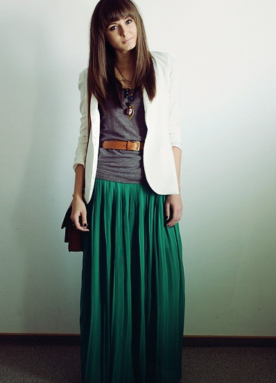 Юбка длинная зеленая с чем одеть
