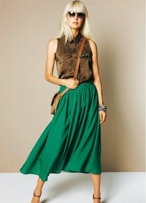 Что одеть с зеленой юбкой солнце