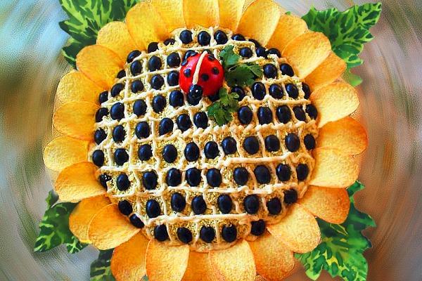 салат подсолнух рецепт с фото с ананасом