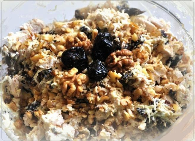 Салат с сыром черносливом и грецким орехом рецепт