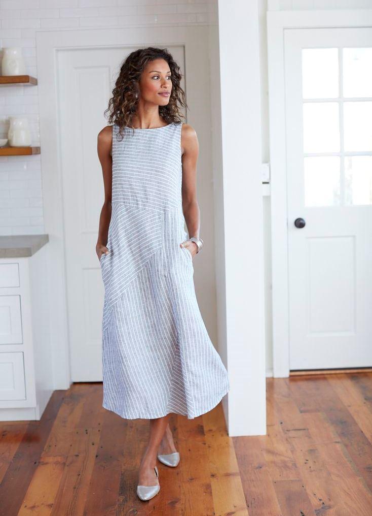 Льняные платья сарафаны