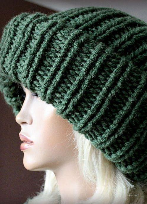 молодежные шапки из толстой пряжи