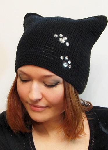 шапка кошка с ушками 2