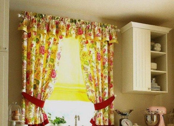 шторы в деревенском стиле на кухню фото
