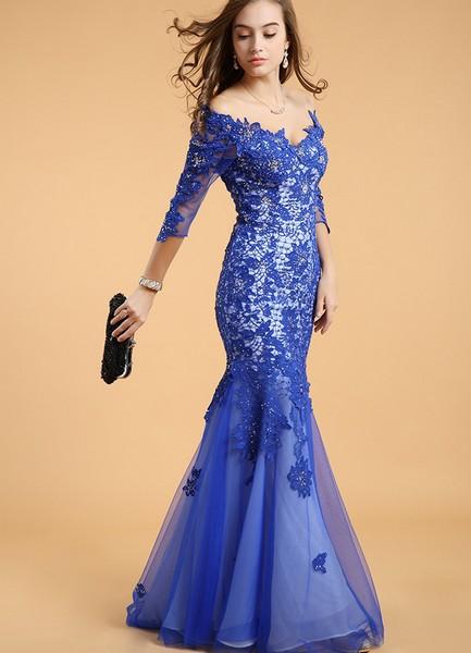 Платье в пол кружевное синее платье фото