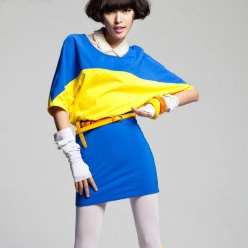 Желто-синее платье фото