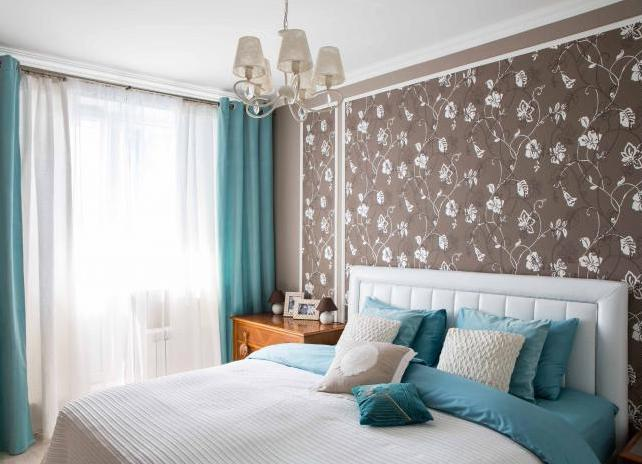 Дизайн интерьера спальни в бирюзовых тонах