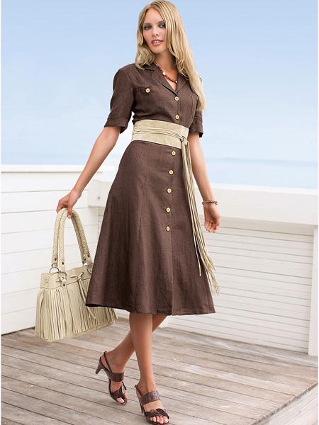 Купить Платье-сафари зелёное с короткими рукавами Dd Shop Платья и