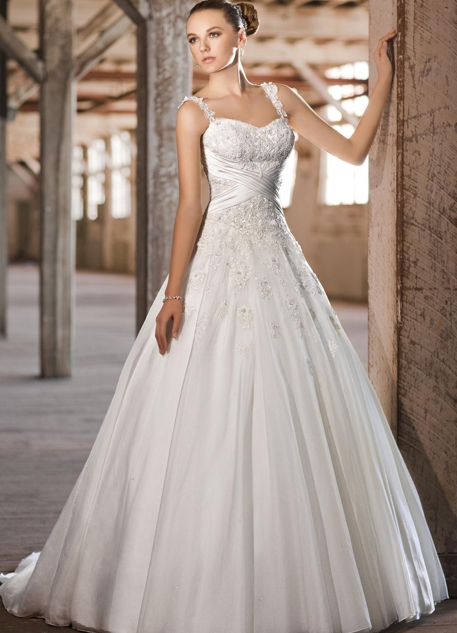 Свадебное платье с лямками пышное
