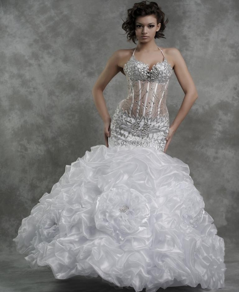 свадебное платье с прозрачным корсетом 2