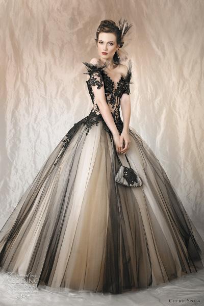 свадебные платья черно белые 4