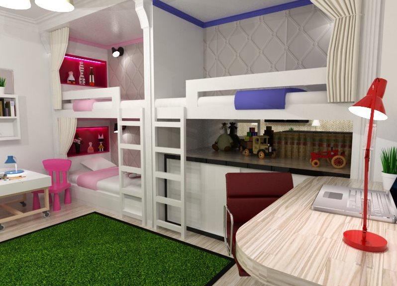 Детские комнаты для троих детей дизайн фото