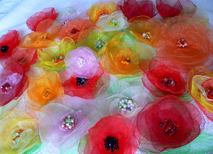 ИЗ, органзы, МК - DIY Beautiful Organza Roses