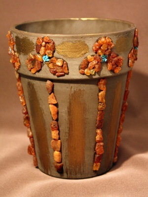Декор глиняного горшка