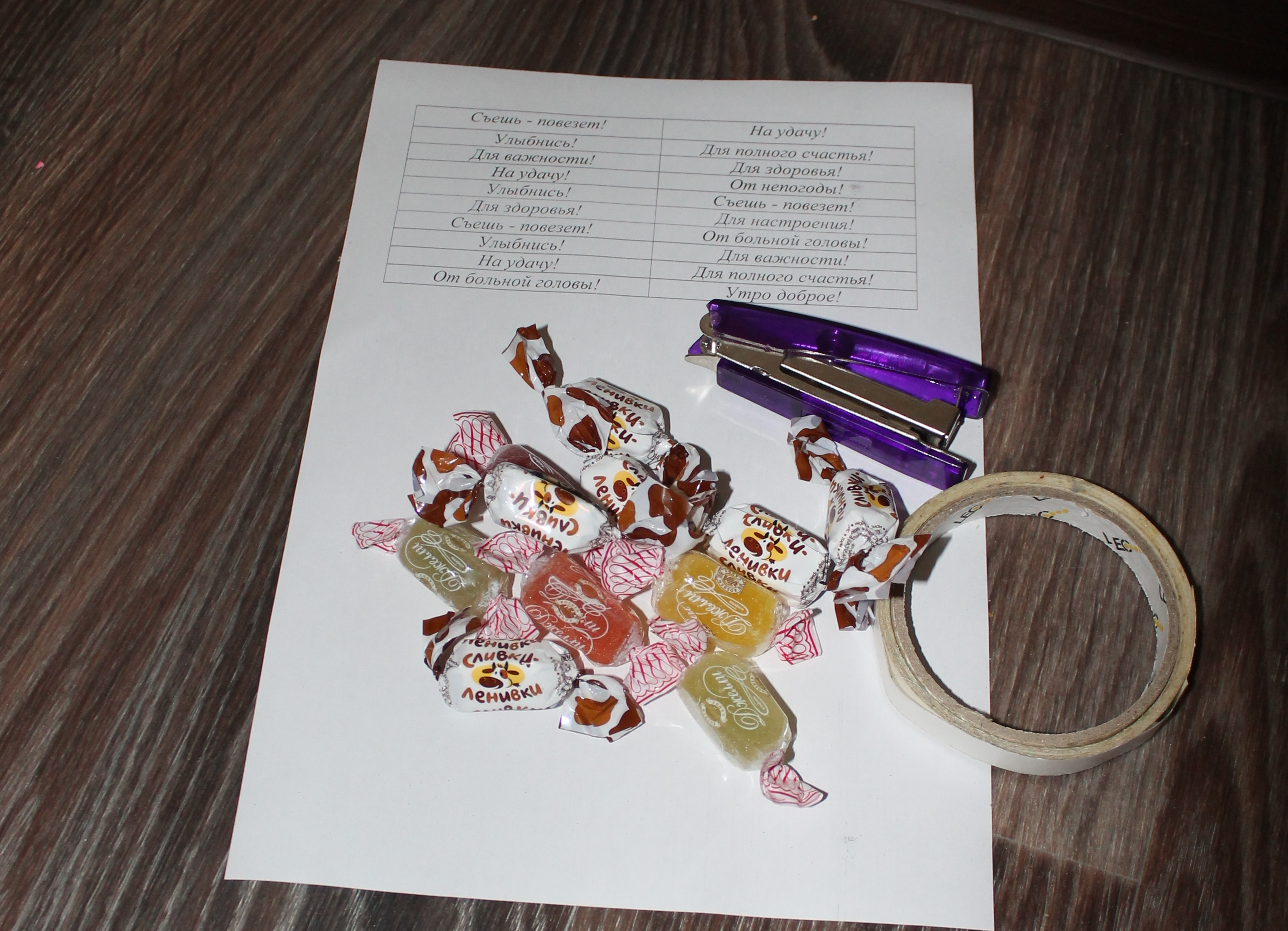 Пожелания на конфетах своими руками