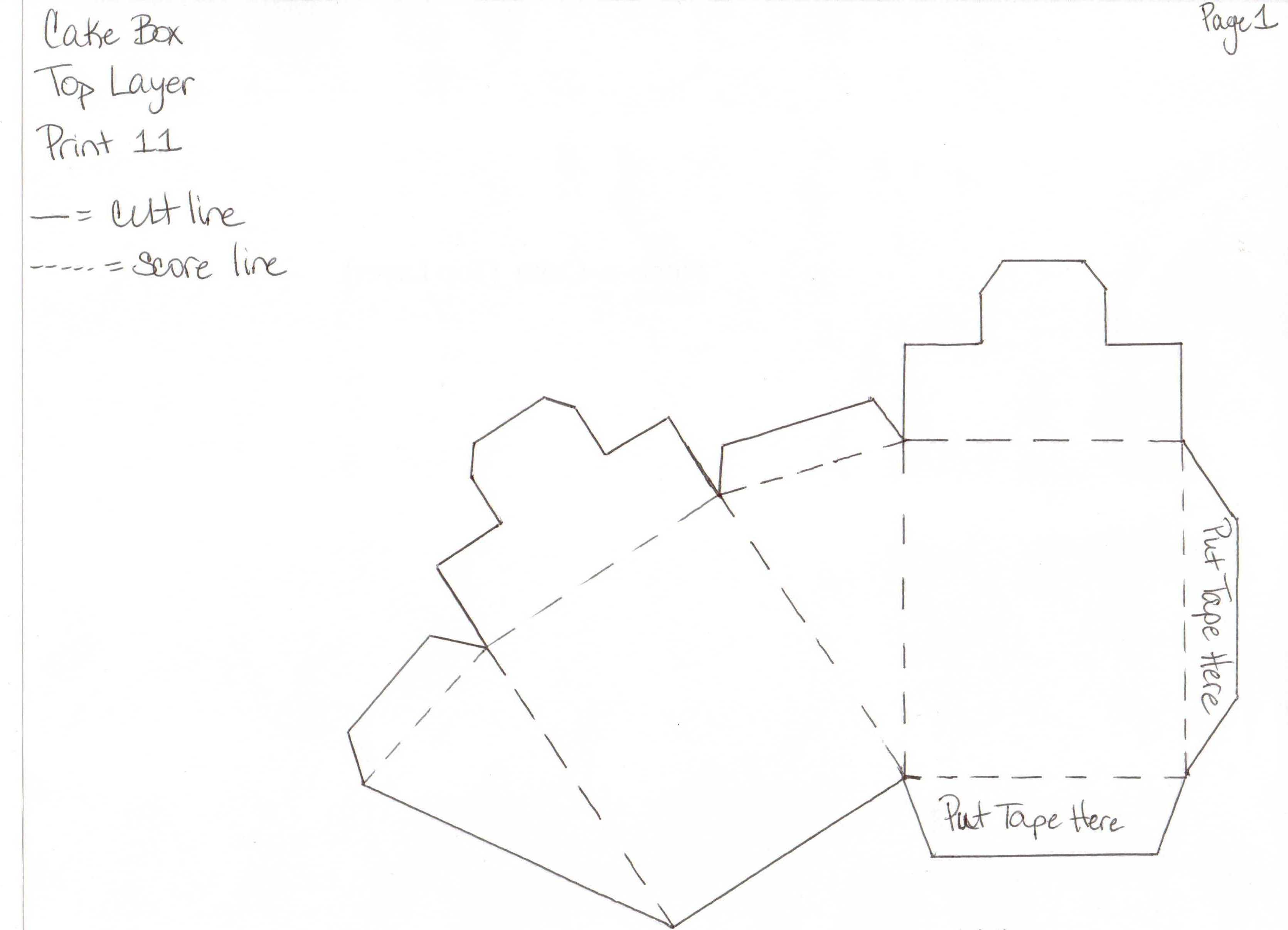 Как сделать из бумаги торт с сюрпризом схема