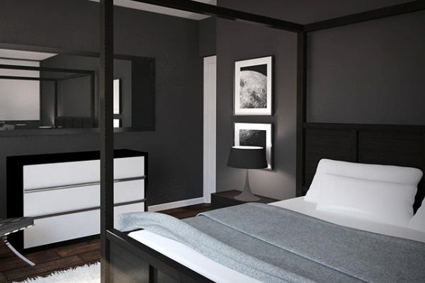 Дизайн комнаты с черно-белой мебелью фото