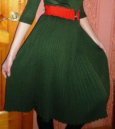 Плиссированная юбка вязание спицами