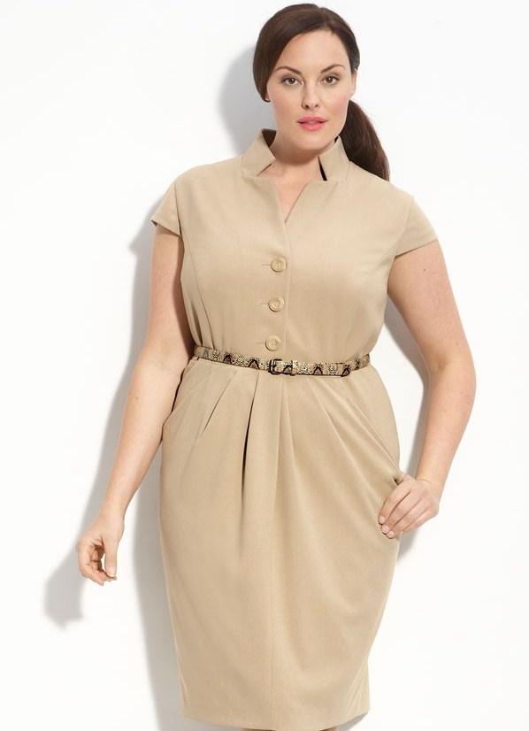 Фото трикотажное платье для полных