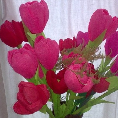 Тюльпаны из гофрированной бумаги Тюльпан из Гофрированной Бумаги