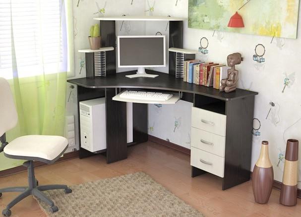 фото компьютерных столов угловых с полками