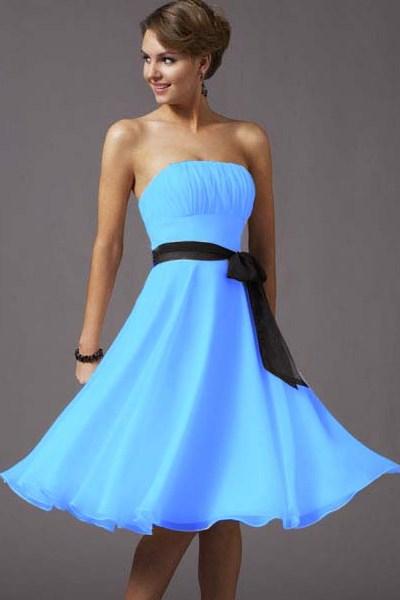 Голубые платья до колена фото