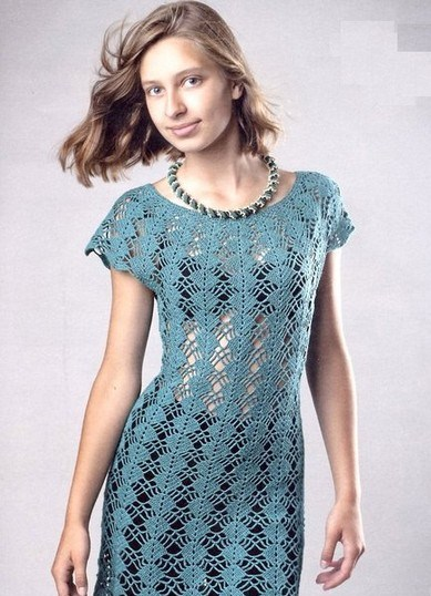 Платья, туники - Вязание крючком, вязание спицами, схемы. схема вышивки в
