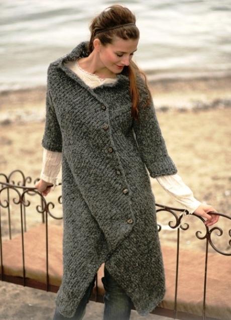 Как вязать пальто из мохера