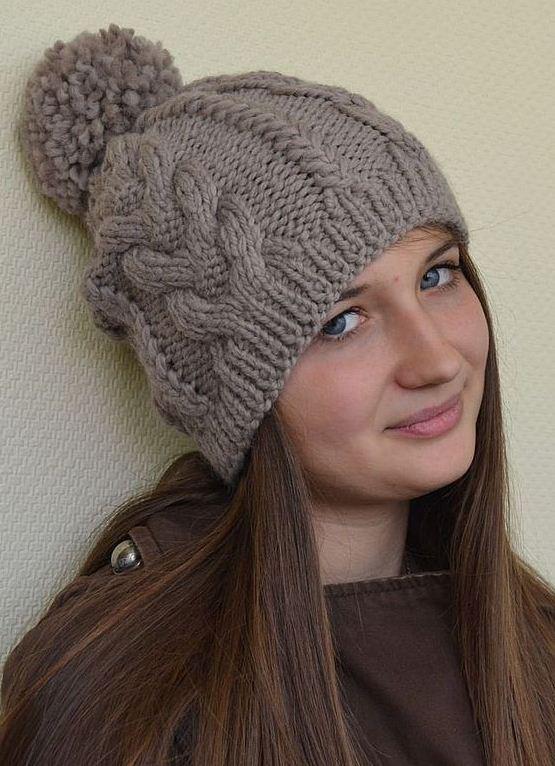 Вязание шапочки женской с косами 86
