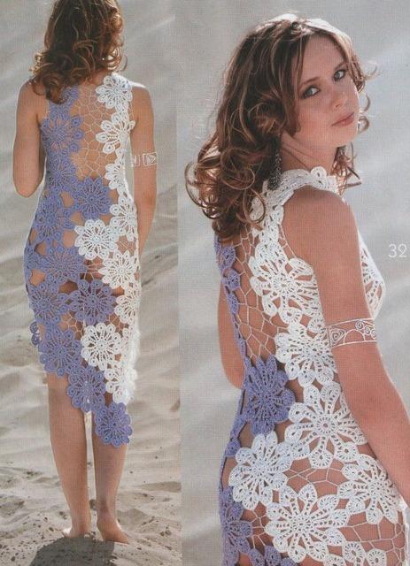 Красивые вязаные платья крючком