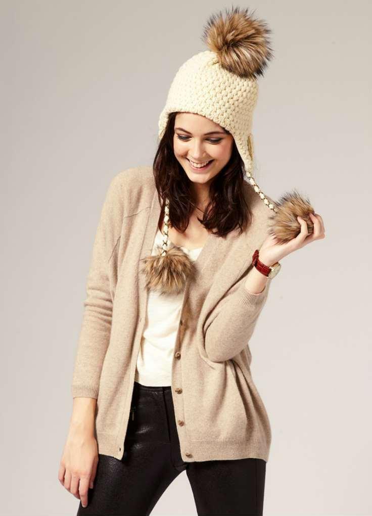 Вязаные шапки с мехом