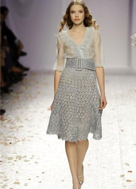 Длинная вязаная юбка с норвежским узором спицами со схемой
