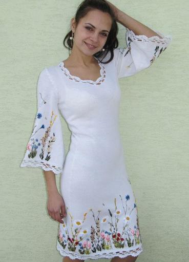 Вышивка лентой платье фото