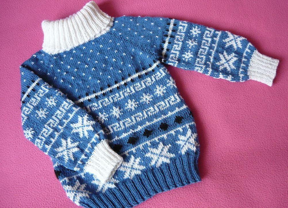 Вязание детский свитер с жаккардом