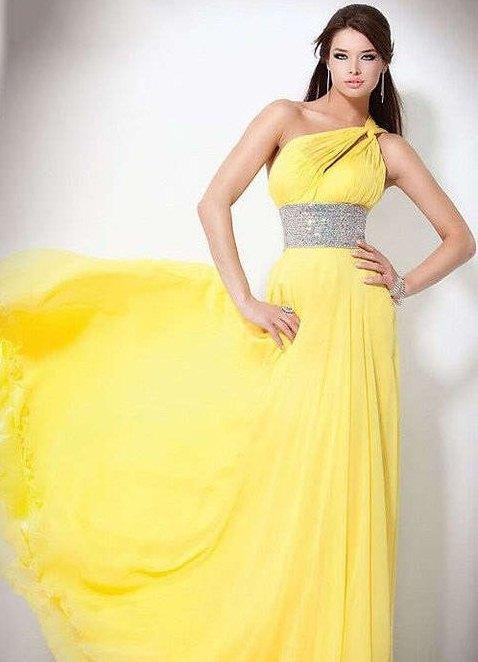 Длинное желтое платье в горох