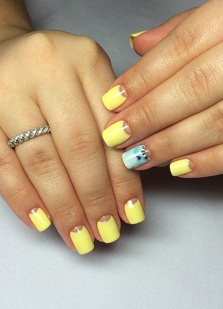 Лимонного цвета ногти фото