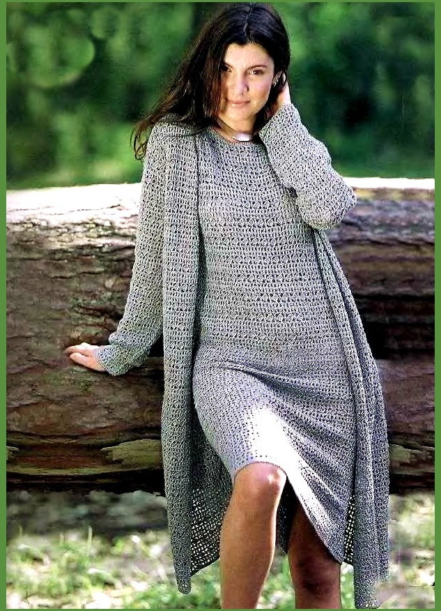 вязаное крючком платье дла