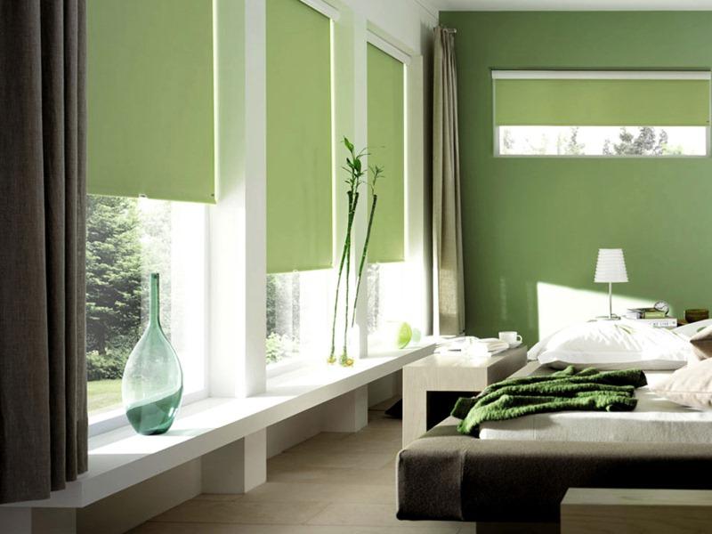 зеленые обои фото в интерьере