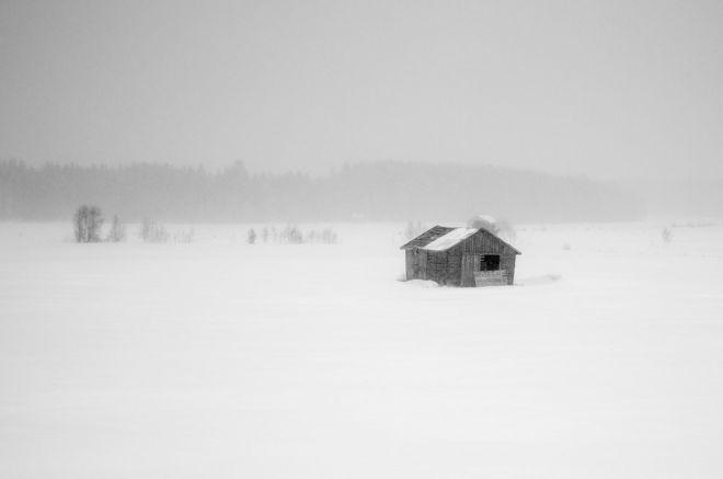 Вид из окна поезда Оулу-Тампере с запада на юг Финляндии