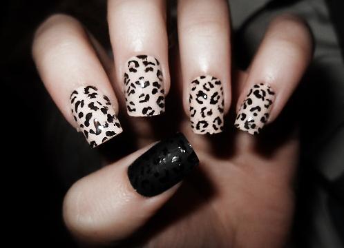 френч фото ногти дизайн леопардовый