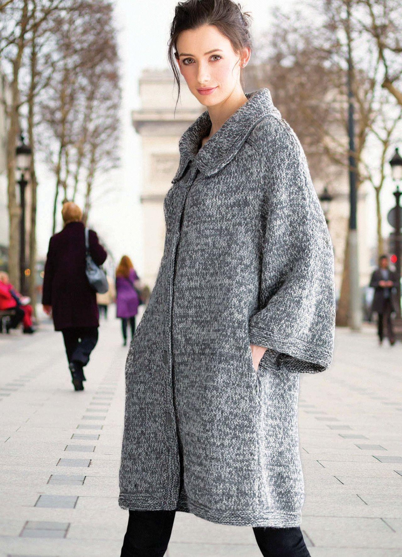 Картинки модного вязаного пальто