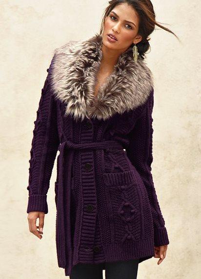 с мехом вязаного пальто фото