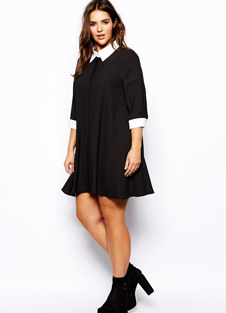 чёрное платье с воротником фото