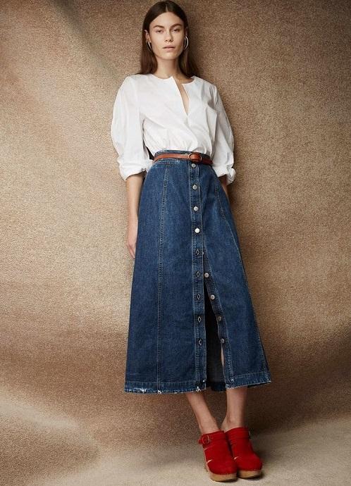 61bd00d102b Джинсовая юбка с пуговицами спереди