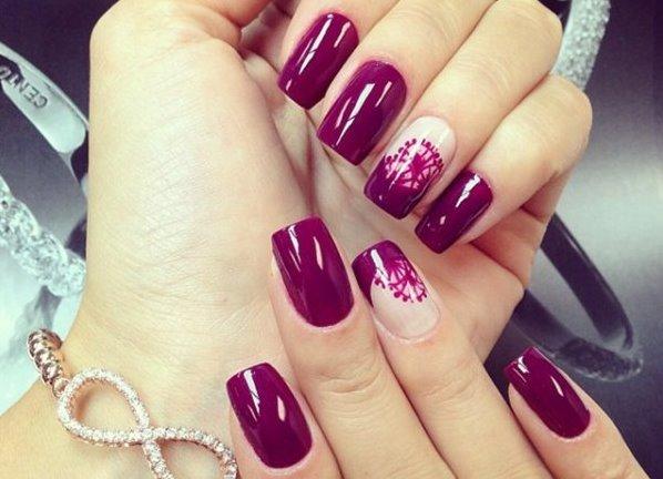 16 фото бордовый дизайн ногтей