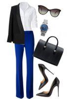 С чем носить темно-синие брюки?